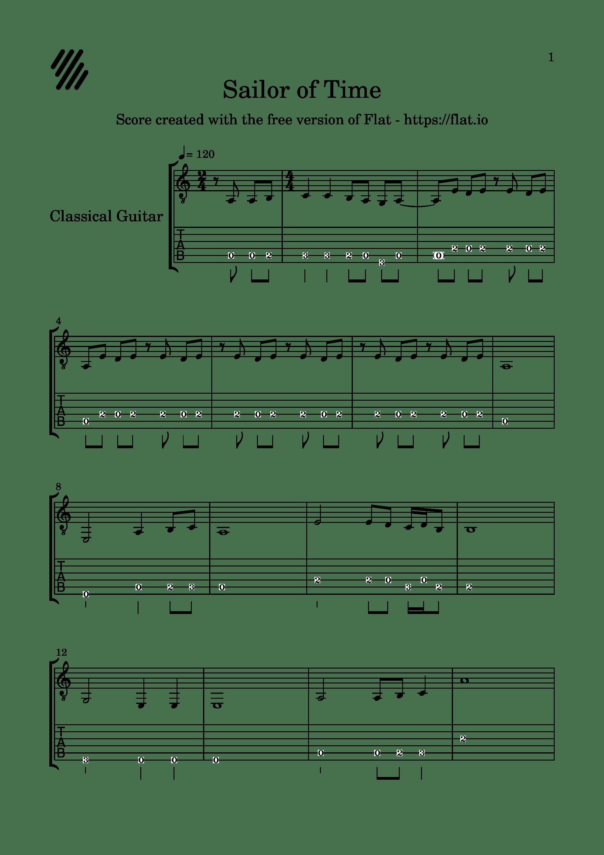 東方夢時空-Sailor of Time吉他谱1