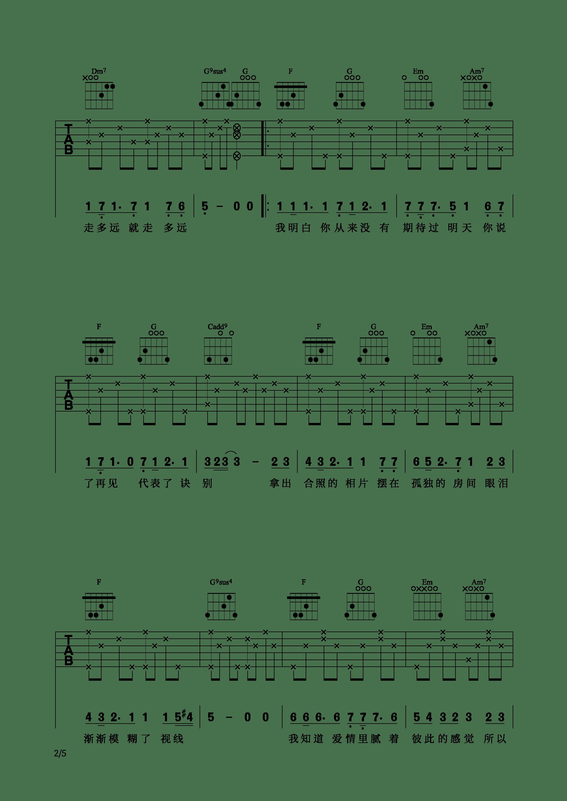 网剧《芝麻》插曲 - 不说什么吉他谱2