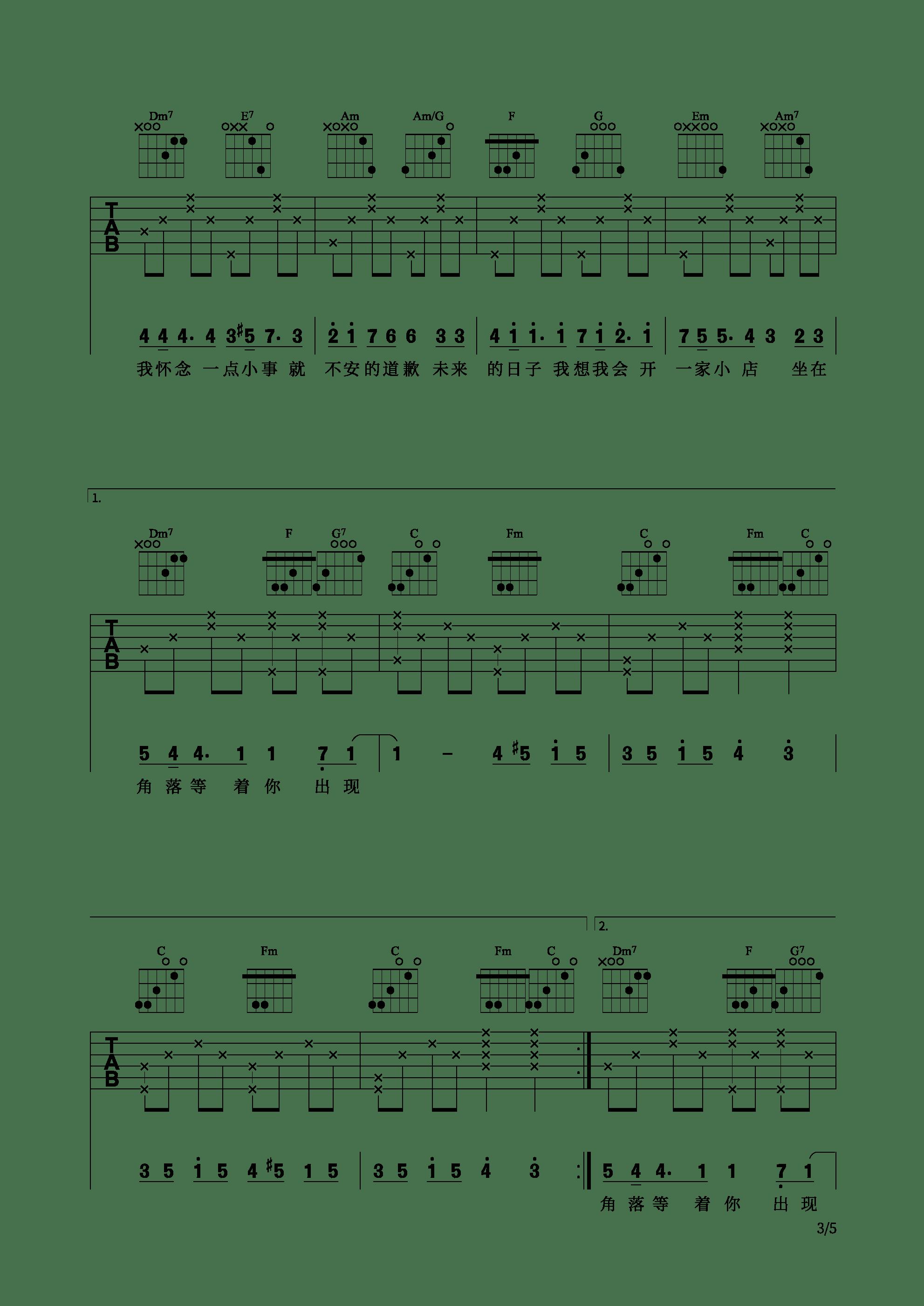 网剧《芝麻》插曲 - 不说什么吉他谱3