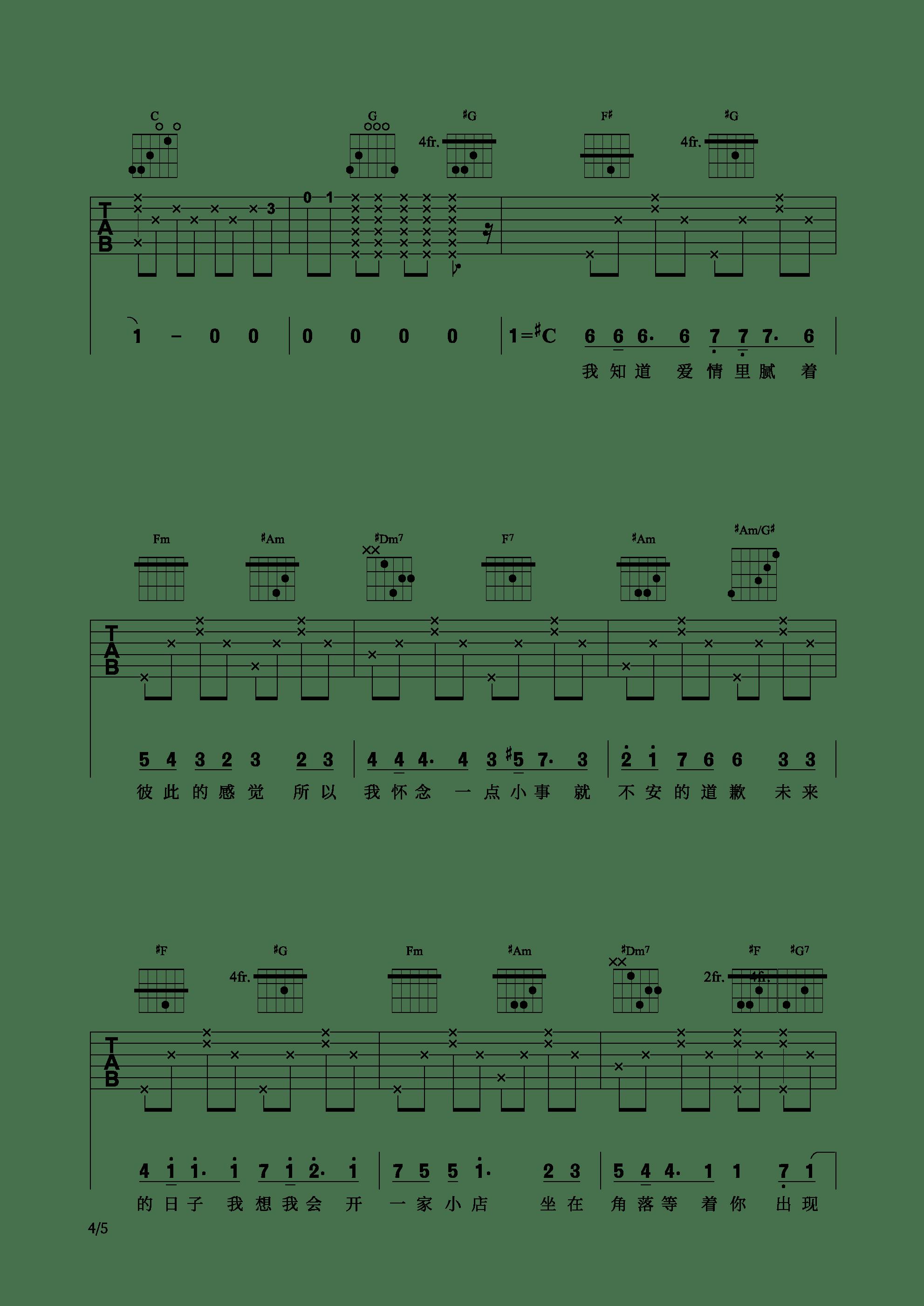 网剧《芝麻》插曲 - 不说什么吉他谱4